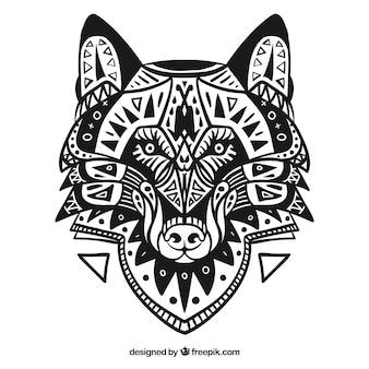 Ethnic dekoracyjny wilk