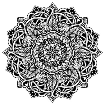 Ethnic mandala for adult coloring book