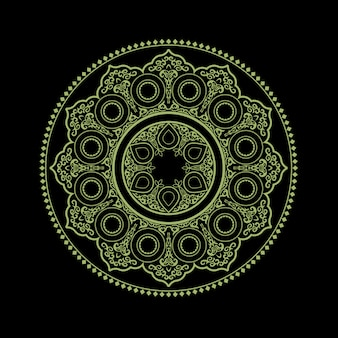 Etniczna delikatna mandala na czerni - round ornamentu wzór