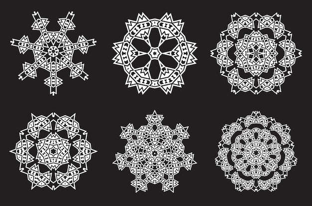 Etniczna fraktalna medytacja mandali wygląda jak płatek śniegu