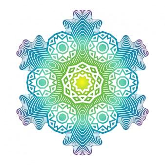 Etniczna psychodeliczna fraktalna wektorowa medytacja mandali wygląda jak płatek śniegu