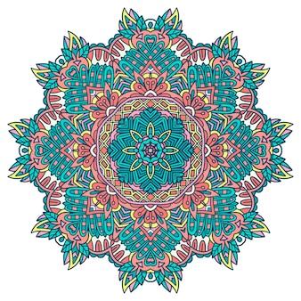 Etniczne bezszwowe doodle kwiaty projekt. świąteczna kolorowa mandala. kwiatowy okrągły ornament
