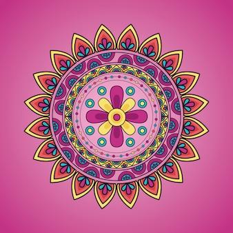 Etniczne dekoracje kwiatowe mandali