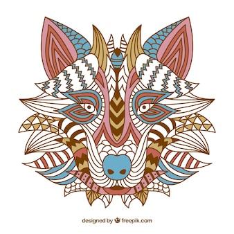 Etniczne dekoracyjne wolf tle