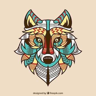 Etniczne kolorowe tło wilk