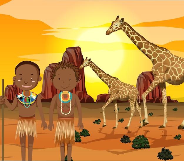 Etniczne ludy afrykańskich plemion w tradycyjnej odzieży na tle przyrody