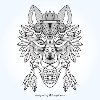 Etniczne ozdobnych tle wilk