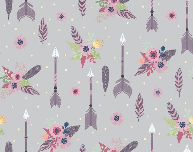 Etniczne pióra, strzała i kwiaty bezszwowy wzór. styl czeski. ilustracji wektorowych.
