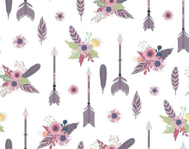 Etniczne pióra, strzała i kwiaty bezszwowy wzór.