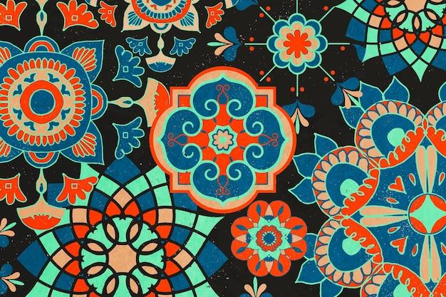 Etniczne tło kwiatowy wzór