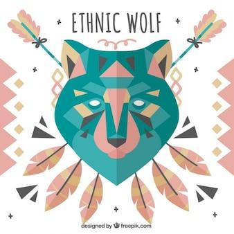 Etniczne wilk z elementami dekoracyjnymi