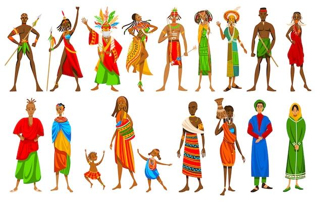 Etniczni ludzie afrykańscy plemiona w tradycyjnej odzieży, set postać z kreskówki, ilustracja