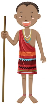 Etniczni ludzie afrykańskich plemion w postaci z kreskówki tradycyjnej odzieży
