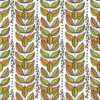 Etniczny bezszwowy wzór z kolorowymi eleganckimi liśćmi. niekończąca się jesień tekstura