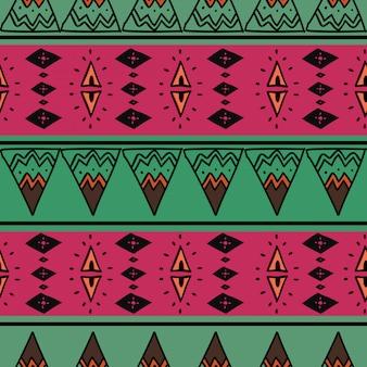 Etniczny bezszwowy wzór z protonowym purpurowym rysunkiem