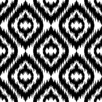 Etniczny biały i czarny wzór bez szwu boho abstrakcyjny nadruk tekstylny tapeta geometryczna