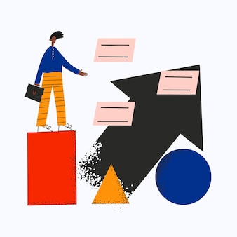 Etniczny biznesmen na abstrakcyjnych kształtach otoczony oknami dialogowymi