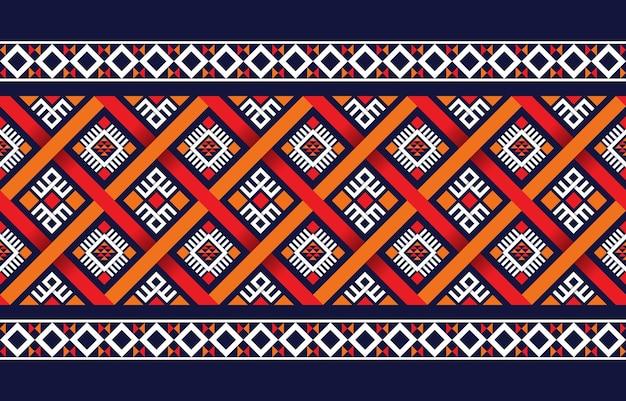 Etniczny wzór boho z geometrycznym wzorem w jasnych kolorach. projekt dywanu, tapety, odzieży, opakowania, batiku, tkaniny, styl haftu o tematyce etnicznej.
