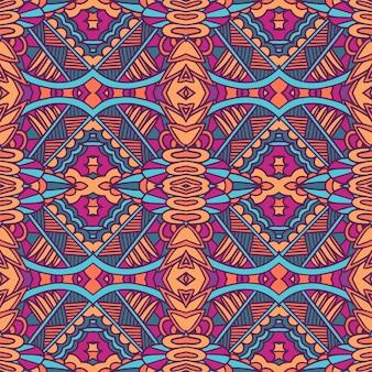 Etniczny wzór plemienny. streszczenie doodle styl bez szwu deseń ozdobnych. meksykański psychodeliczny design