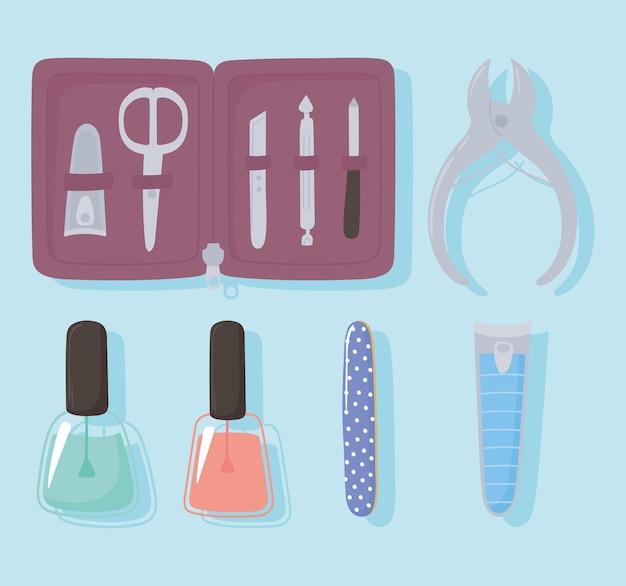Etui do manicure i pedicure z pilnikiem narzędzi i obcinaczami do paznokci nożyczki lakier do paznokci zestaw ikon ilustracji