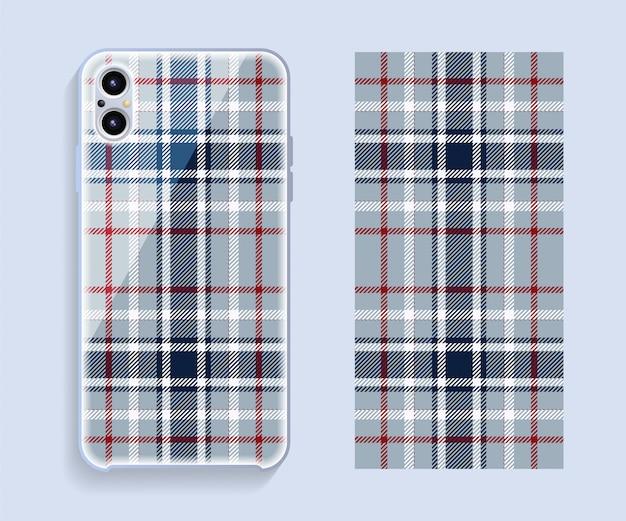 Etui na smartfona. szablon geometryczny wzór na tylnej części telefonu komórkowego. .