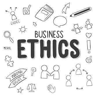 Etyka biznesowa z ręcznie rysowanymi doodles