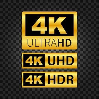 Etykieta 4k ultra hd. zaawansowana technologia. wyświetlacz telewizora led. ilustracja wektorowa