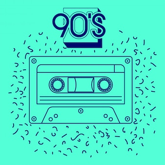 Etykieta 90s z kasetą retro