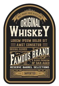 Etykieta alkoholowa vintage design retro