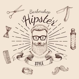 Etykieta barbershop hipster