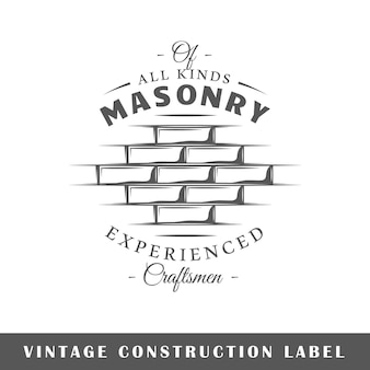 Etykieta budowy na białym tle. element projektu. szablon logo, oznakowania, brandingu.