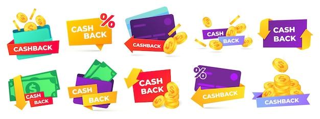 Etykieta cashback. identyfikatory zwrotu pieniędzy, zwrot gotówki i zwrot monet z zakupów i zestawu etykiet płatniczych.