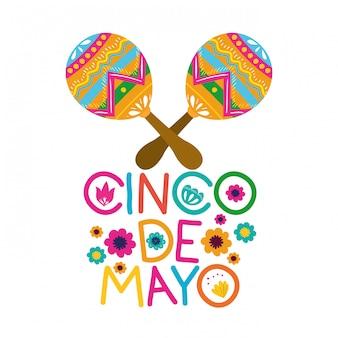 Etykieta cinco de mayo z ikoną maraca