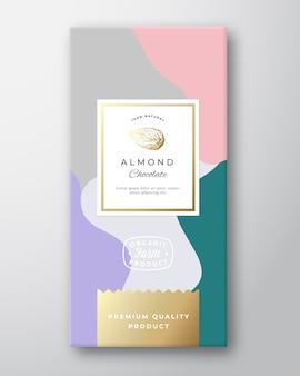 Etykieta czekolady migdałowej. abstrakcyjny układ opakowania z miękkimi realistycznymi cieniami.