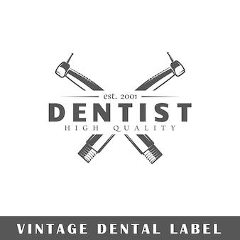 Etykieta dentystyczna na białym tle