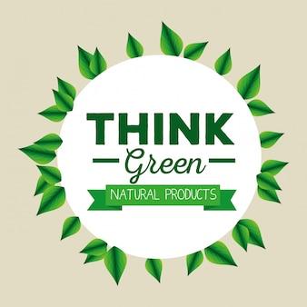 Etykieta ekologiczna z liśćmi i wstążką