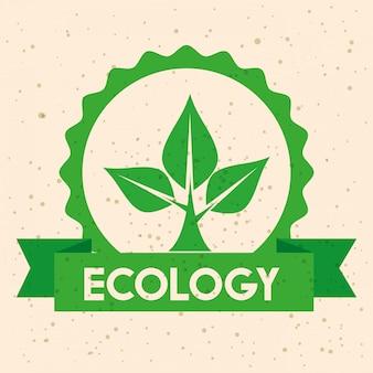 Etykieta ekologii z ochroną drzew i wstążką