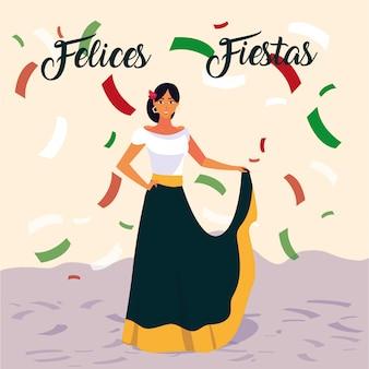 Etykieta fiestas felices z kobietą w typowym meksykańskim stroju