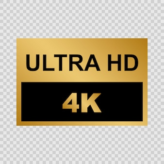 Etykieta golden ultra hd. znaki nowoczesnej technologii