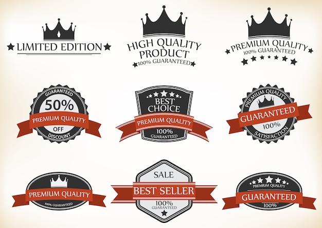 Etykieta gwarancji satysfakcji i zestaw vintage premium quality