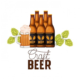Etykieta happy hour zimnego piwa z ikoną butelki