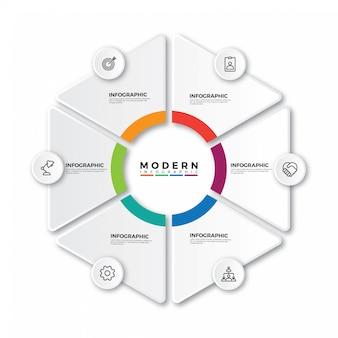 Etykieta infographic z ikonami i 6 opcjami lub krokami