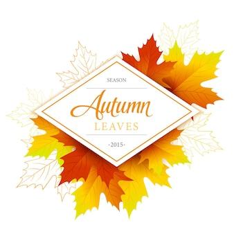 Etykieta jesiennych liści z opadłych liści