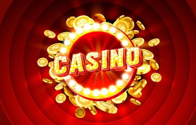 Etykieta kasyna rama złoty baner granica zwycięzca gra vegas wektor