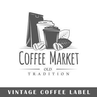 Etykieta kawy na białym tle