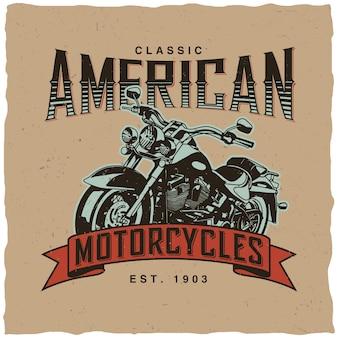 Etykieta klasycznych amerykańskich motocykli