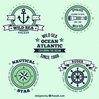Etykieta kolekcja żeglarza w stylu vintage