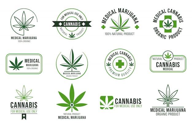 Etykieta konopi. medyczna terapia marihuaną, legalne rośliny konopi i rośliny narkotykowe. palenie chwastów odznaki na białym tle zestaw