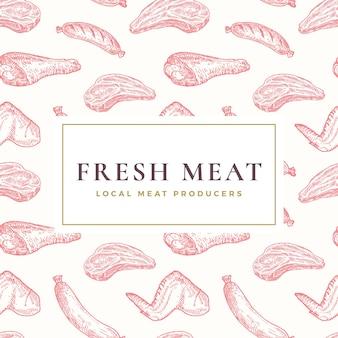 Etykieta lokalnego świeżego mięsa lub wzór tła. ręcznie rysowane szkice stek, kiełbaski, udko kurczaka i skrzydełka. karta żywności, opakowanie, tapeta lub szablon okładki