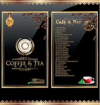 Etykieta menu kawiarni